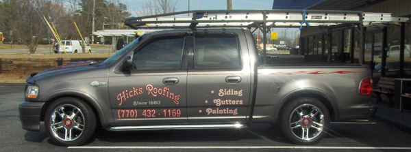 Vehicle Graphics - Hicks Roofing Truck
